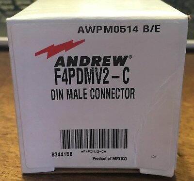 """Commscope Andrew F4PDMV2-C DIN Male Connector for 1/2"""" Superflex New"""