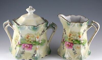 Vintage Porcelain Water Lily Luster Ware Sugar Bowl and Creamer Made In Germany