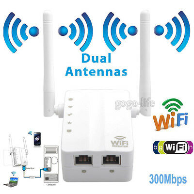 300Mbps Range Extender WiFi Wireless Receiver Repeater Router External Antenna