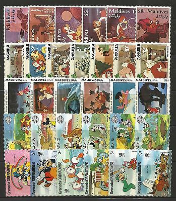 WALT DISNEY CARTOON STAMPS COLLECTION PACKET of 30 Different Stamps MNH (Lot 3)