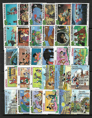 WALT DISNEY CARTOON STAMPS COLLECTION PACKET of 30 Different Stamps MNH (Lot 1)