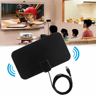Flat Indoor HD Signal Amplifier Digital TV Antenna HDTV 50 Miles Range VHF UHF Y