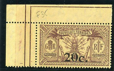 New Hebrides-French 1920 KGV 20c on 30c brown/yellow (on SG F15) MNH. SG F35.