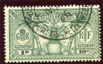 """New Hebrides-French 1925 KGV """"Weapons & Idols"""" 10c (1d) green VFU. SG F43."""