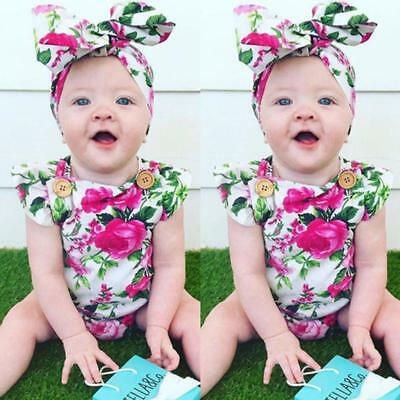 Baby Girls Floral Romper Playsuit Jumpsuit Tutu Dress+Headband Outfits Cute LG