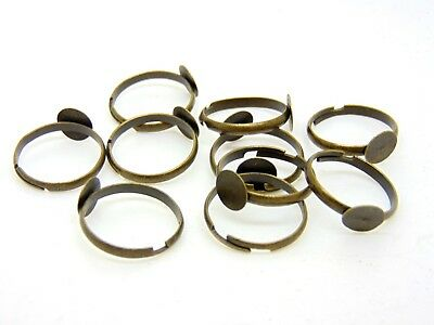 10 Pcs -  Antique Bronze Adjustable Ring Blanks 8mm Flat Pad Glue S72