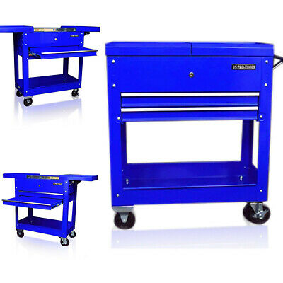 60 Us Pro Tools Steel Tool Cart Trolley Workstation Box Blue Wheels Trays