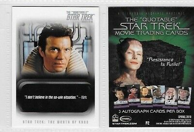 The Quotable Star Trek Movies  Promo Card P2 By Rittenhouse ......rare To Find