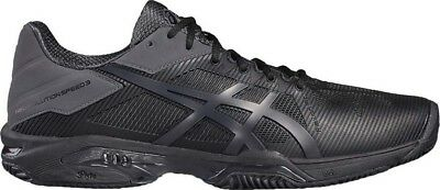 Mens Black asics Solution Speed 3 Clay Court Tennis Shoes Trainers Size UK 7