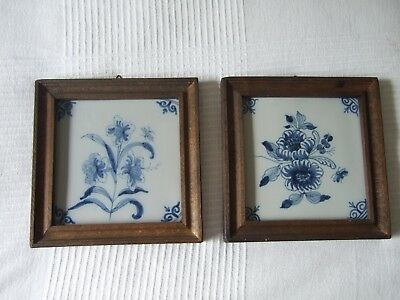 Pair of Antique Blue & White floral ceramic tiles in wooden frames hand painted