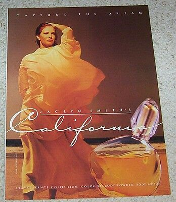 1992 print ad - sexy JACLYN SMITH for Max Factor California cologne vintage PAGE