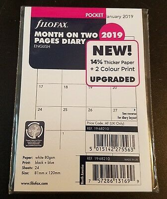 2019 FILOFAX Pocket Month on Two Pages Diary/Calendar - 19-68210