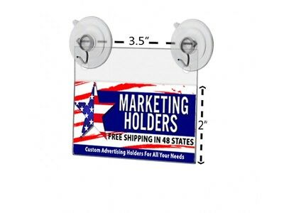 "Acrylic 3.5""W x 2""H Small Signage Holder Business Card Parking Pass Suction Cups"