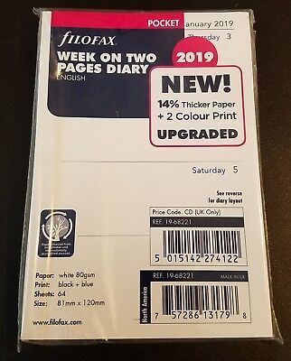 2019 FILOFAX Pocket Week on Two Pages Diary/Calendar  19-68221