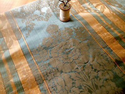 Antique French Silk Cotton or Blend Floral Scroll Damask Fabric ~Slate Blue Gold