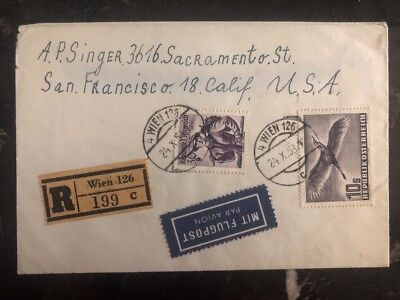 1953 Vienna Austria Airmail Registered Cover FDC To San Francisco Ca USA