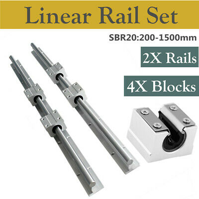 2Pcs Shaft SBR20 200-1500mm Linear Rail with 4Pcs SBR20UU Rod Slide Guide Set