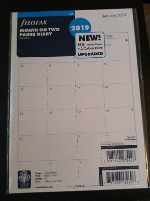 2019 FILOFAX A5 Month on two Pages Diary/Calendar 19-68510