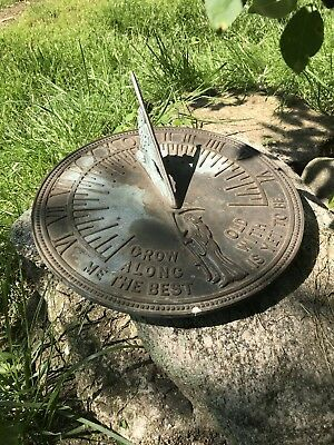 Antique or Vintage Bronze SUNDIAL Grow Old Along With Me The Best Is Yet To Come