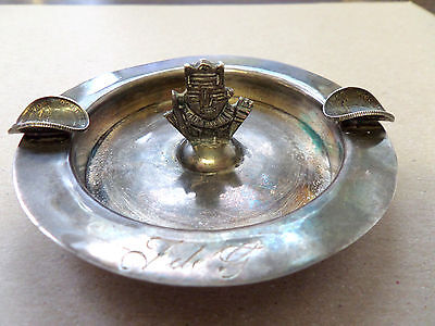 Vintage HANDMADE STERLING SILVER ASHTRAY AZTEC MEXICO COIN HOLDERS