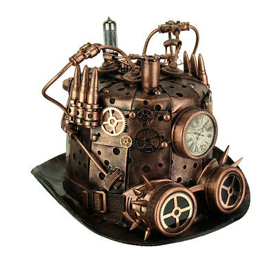 Copper Metal Look Steampunk Bullet Top Hat with Clock