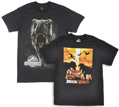 Jurassic World 2 Pack T-Shirts Mens Dinosaur Trex Movie Tees