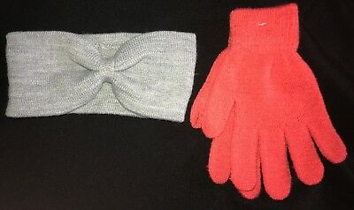 womens NEW NWT salmon? ONE SIZE FITS MOST STRETCH GLOVES gray EARMUFF NICE @@