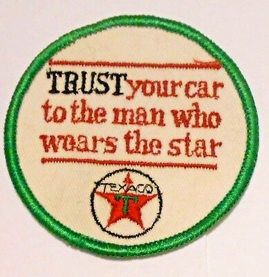 """3/"""" Vintage Texaco /""""Trust your car to the man who wears the star/"""" patch"""