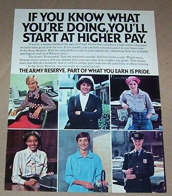 1976 VINTAGE AD - Army Reserve Women men career military