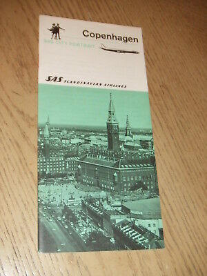 1969 SAS Scandinavian Airlines City Portrait Copenhagen Denmark Booklet Map DK