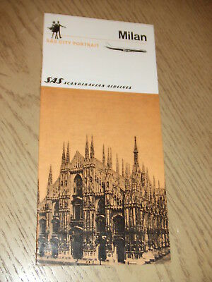 VINTAGE 1969 SAS Scandinavian Airlines City Portrait Milan Italy Booklet Map ITA