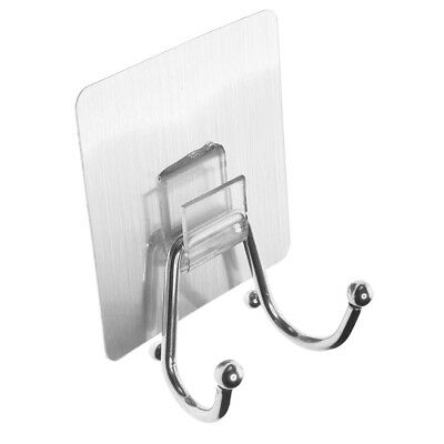Double Hooks Stainless Self Adhesive Hooks Strong, Wall, Tiles, Door,Windows