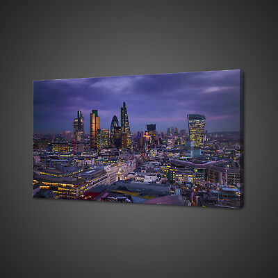 Magnificent London Skyline At Night Canvas Print Wall Art Picture Photo