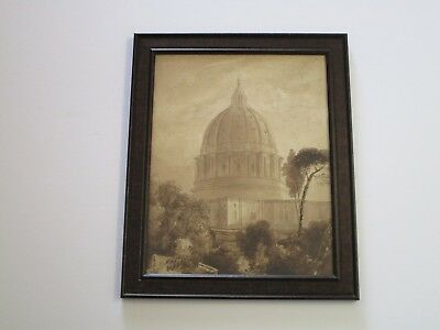 19Th Century Painting Architectural Roof Top Landscape Mystery Artist Old Fine