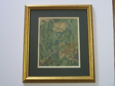 Antique 19Th To 20Th Century Asian Painting Modernist Chinese Trees Art Deco Vtg