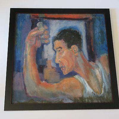 Mid Century Modern Painting Portrait Abstract Expressionism 1961 Mystery Artist