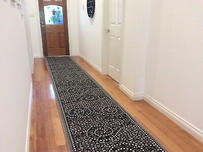 Hallway Runner Hall Runner Rug Modern Grey Black 4 Metres Long Premium 95842