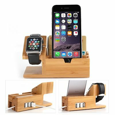 Bamboo Charging Stand For Apple Watch, iPhone ~ Includes 3 USB Ports Filter