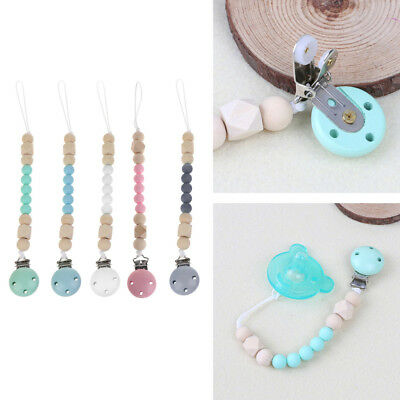 Candy Color Pacifier Clips Chain Holder Wood Silicone Beads Nipple Dummy Holder