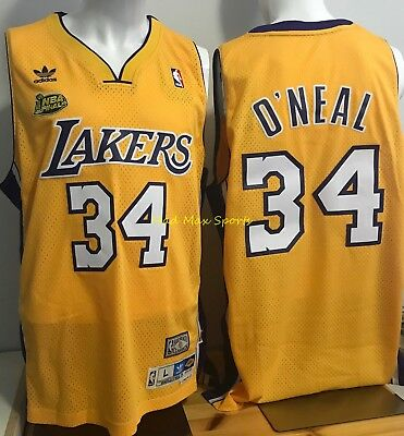 SHAQUILLE O' NEAL Los Angeles Lakers 2001 FINALS Gold THROWBACK Swingman Jersey