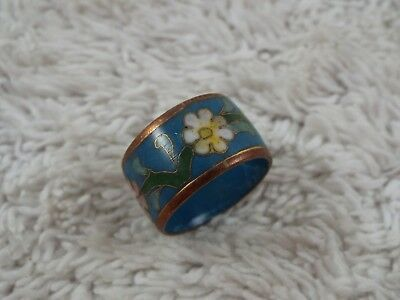 Pink Yellow Blue Glower Cloisonne Copper Band Ring ~ Size 6 (C48)