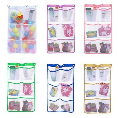 6 Pocket Bath Shower Hanging Mesh Organizer Holder Caddy Storage Bag With Hooks