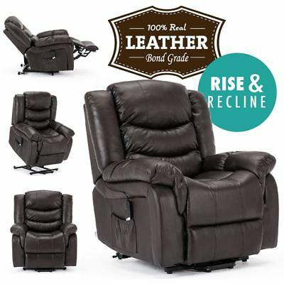 seattle brown electric rise leather recliner armchair sofa home