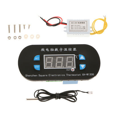 LCD Digital Temperature Controller Electronics Thermostat w/ Probe 220V Blue