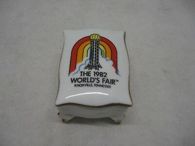 Worlds Fair Knoxville Tennessee 1982 Trinket Box Sunsphere Footed Gold Tim