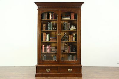 Victorian Eastlake Antique Carved Library Bookcase, Glass Doors #28852