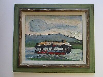 Capulin Signed Mid-Century Modern Painting Abstract Expressionism Ferry? Vintage