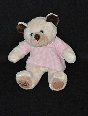 Peluche doudou ours TEDDY BELLY beige brun chemise vichy rose 15 cm assis NEUF