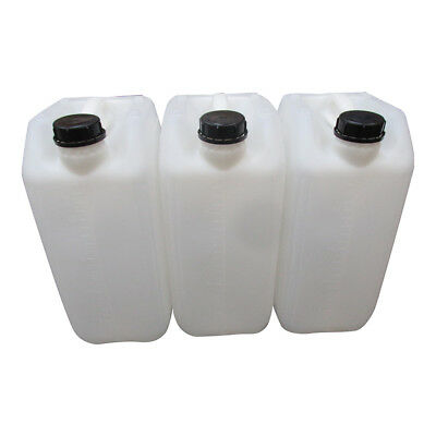 3 X 25 Litre 25L 25000Ml New Plastic Bottle Jerry Can Water Container Carrier