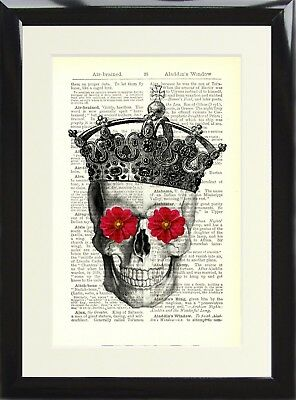 Skeleton Skull with Crown Flowers Art Print Antique Vintage Dictionary Page